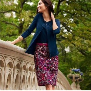 Talbots Piccadilly paisley red pink pencil skirt